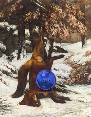 Gazing Ball (Courbet Dead Fox in the Snow)