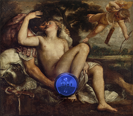 Gazing Ball (Titian Mars, Venus, and Cupid)