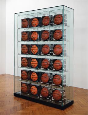 Encased - Four Rows (6 Wilson Michael Jordan Basketballs, 6 Wilson MVP Basketballs, 12 Spalding Zi/O Basketballs)
