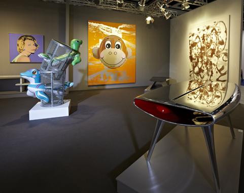 Seal Walrus Trashcans and Monkey Train (Orange) by Jeff Koons. Hong Kong International Art Fair, L&M Arts, 2011.