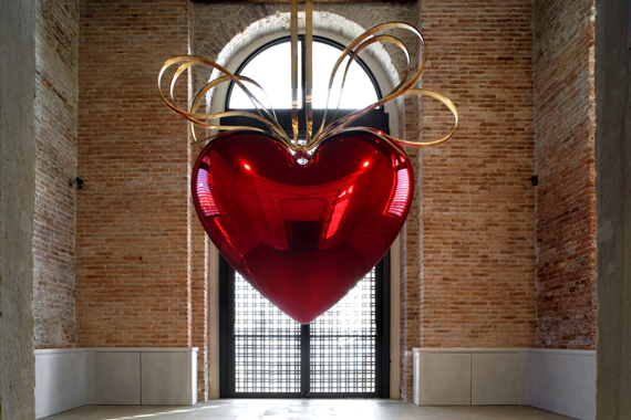 Hanging Heart (Red/Gold) by Jeff Koons. In Praise of Doubt, Punta della Dogana, 2011-2012.