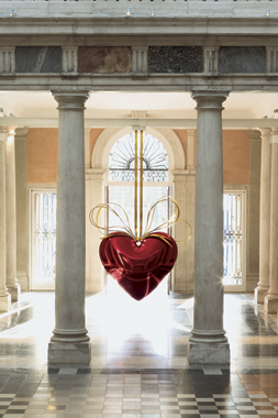 Hanging Heart (Red/Gold) by Jeff Koons. Where Are We Going: Selections from the François Pinault Collection, Palazzo Grassi, 2006.